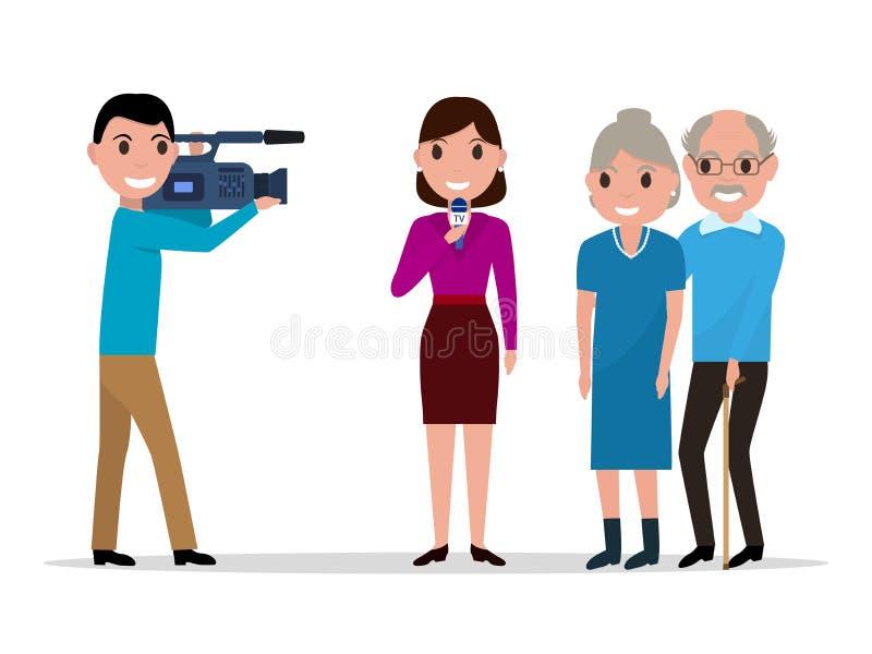 Cartoon journalist interviewing elderly vector illustration