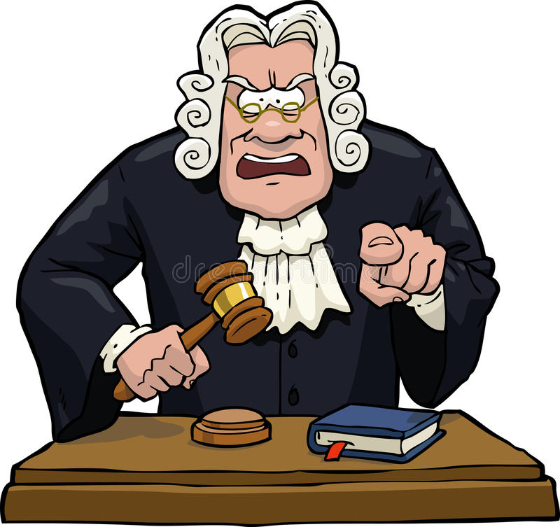 Cartoon judge accuses. On a white background illustration stock illustration