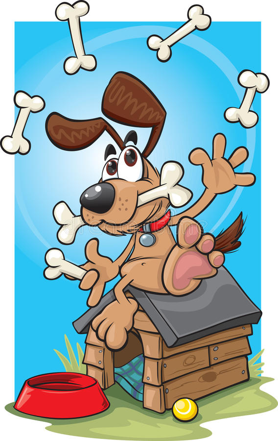 Cartoon juggling dog. A cartoon dog juggling on his kennel vector illustration