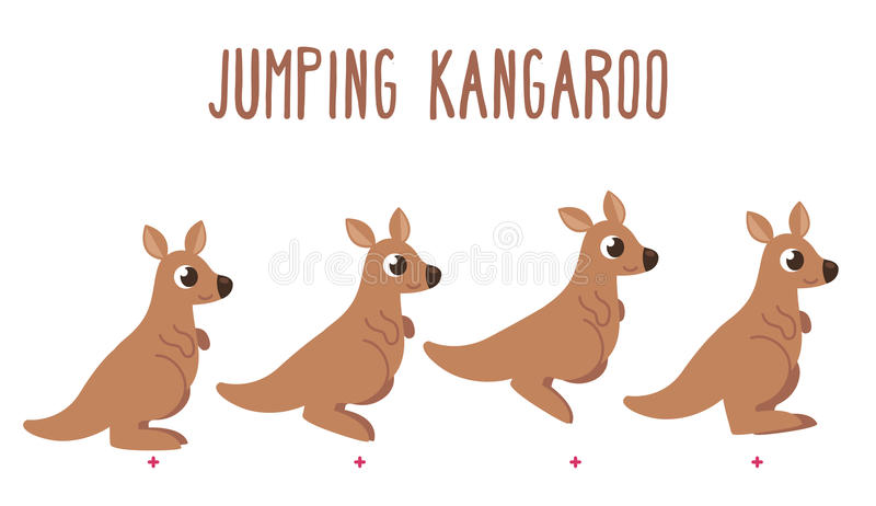 Cartoon kangaroo jumping stock illustration