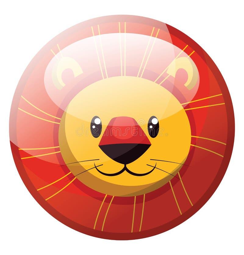 Cartoon karakter van een glimlende gele vectorillustratie van de leeuw in rode cirkel vector illustratie