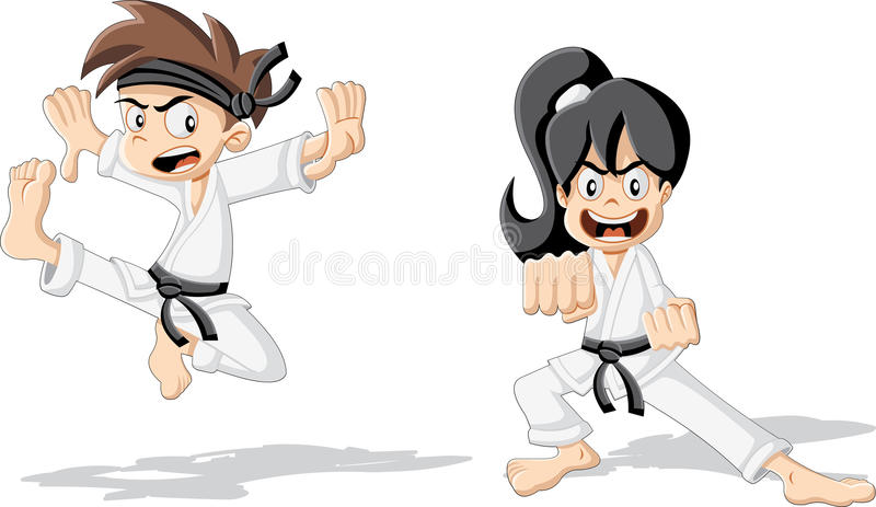 Cartoon karate. Kids training karate vector illustration