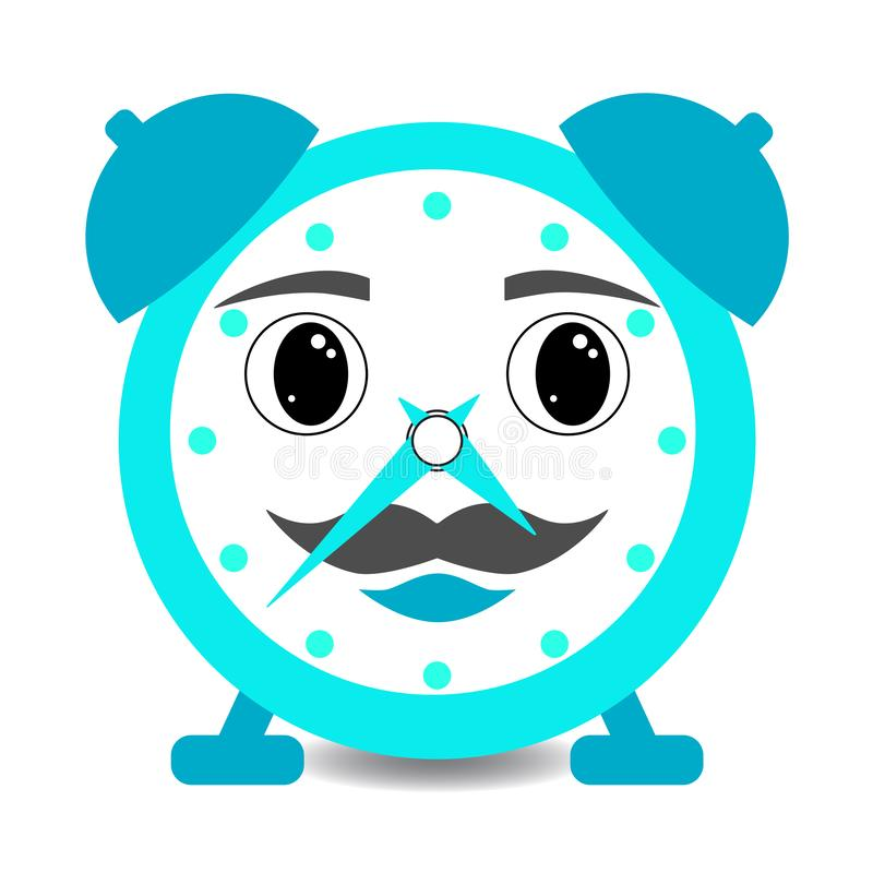 Cartoon kawaii alarm clock male boy blue smiling popular character.  stock illustration