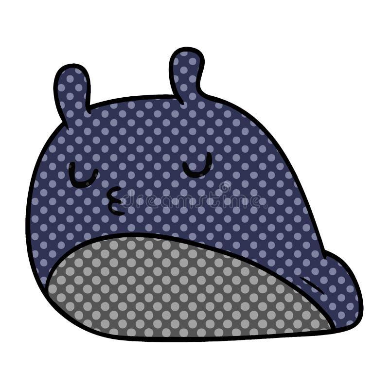 Cartoon kawaii fat cute slug. A creative illustrated cartoon kawaii fat cute slug stock illustration