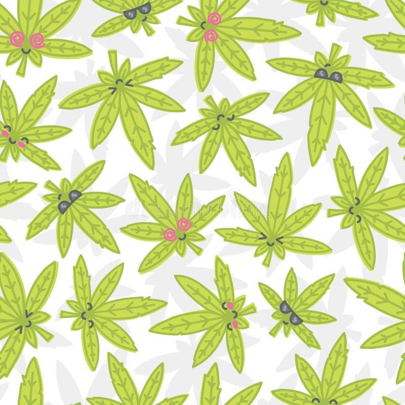 Cartoon kawaii weed seamless vector pattern white royalty free illustration