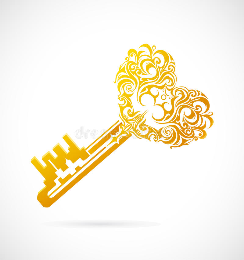 Download Cartoon key with heart stock illustration. Image of shape - 34771189