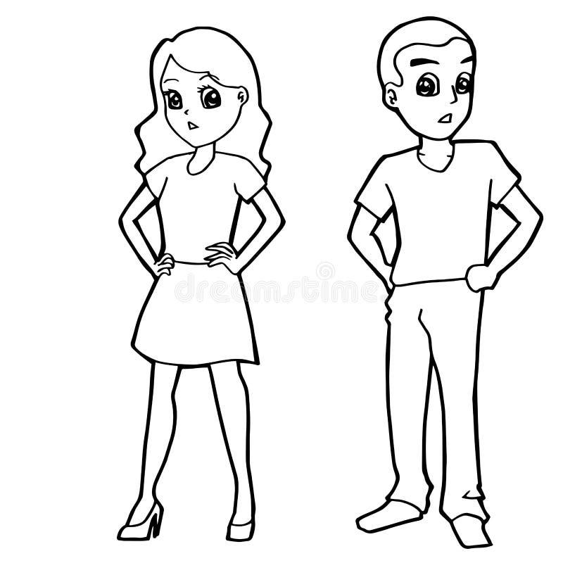 Download Cartoon Kid Boy Girl Or Human Coloring Page Vector Stock