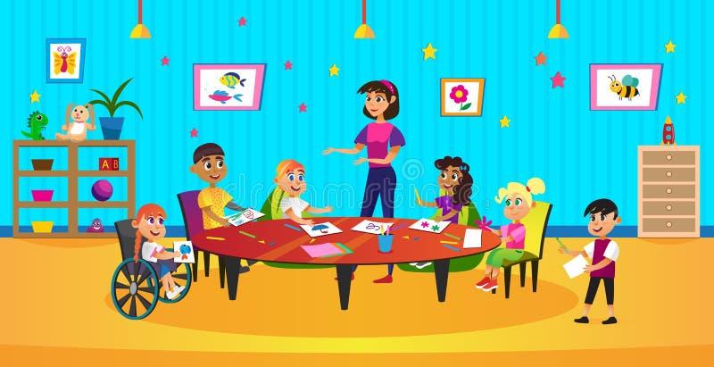 Cartoon Kid Crayon Draw Coloring Woman Teacher stock illustrationer