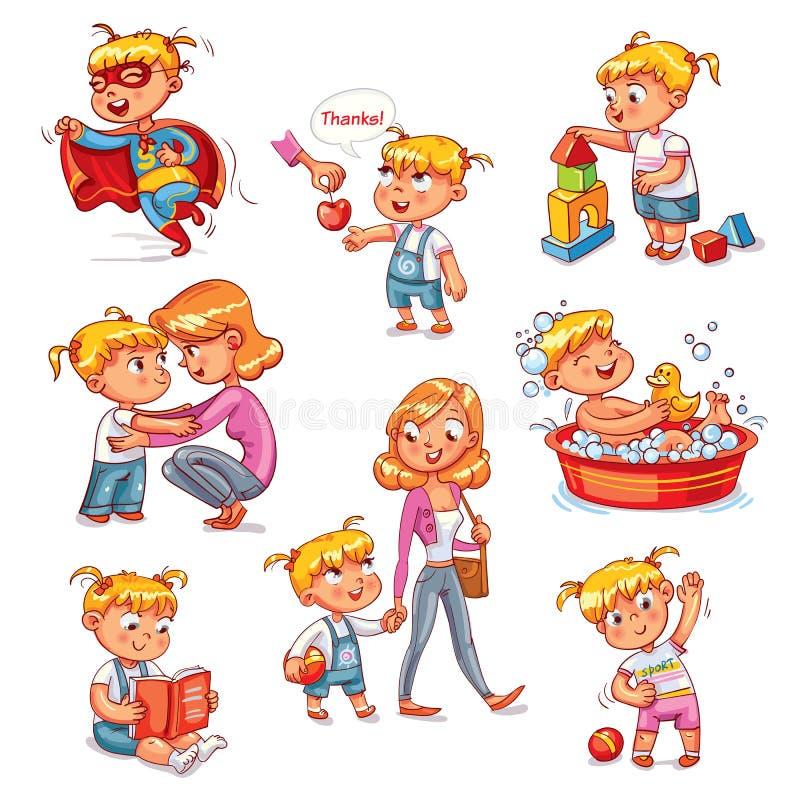 Free Cartoon Kid Daily Routine Activities Set Stock Photo - 106502750