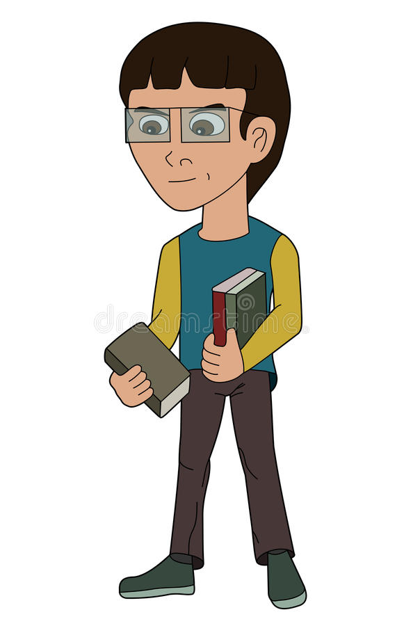 Cartoon kid nerd boy holding books royalty free stock photography