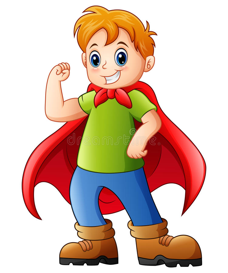 Cartoon kid playing a superhero vector illustration