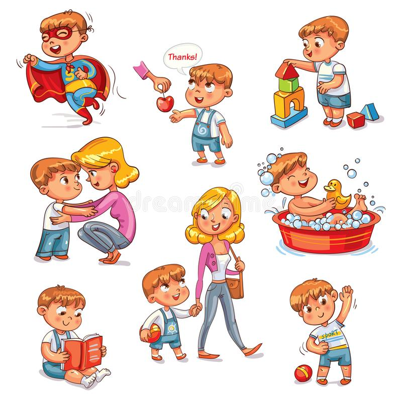 Cartoon kid daily routine activities set. Boy goes for a walk with mom. Kid with Speech say thank you. Child takes a bath. Reading a book. Boy doing exercises stock illustration