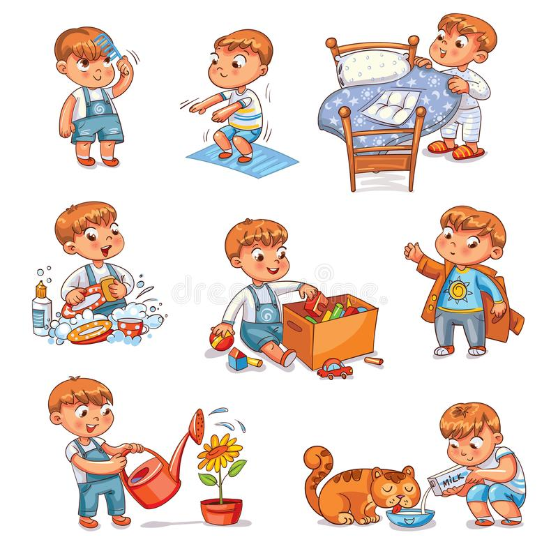 Cartoon kid daily routine activities set. Daily routine. Child is combing his hair. Boy washes dishes. Kid is putting his toys in a box. Child makes bed. Kid vector illustration