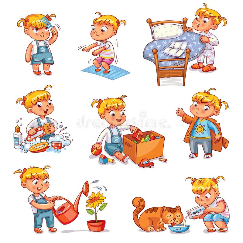 Cartoon kid daily routine activities set. Daily routine. Child is combing his hair. Girl washes dishes. Kid is putting his toys in a box. Child makes bed. Girl vector illustration
