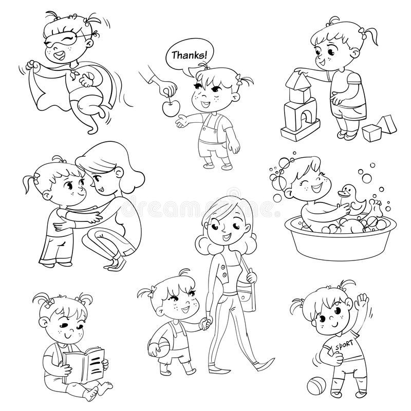 Cartoon kid daily routine activities set. Girl goes for a walk with mom. Kid with Speech say thank you. Child takes a bath. Reading a book. Girl doing vector illustration