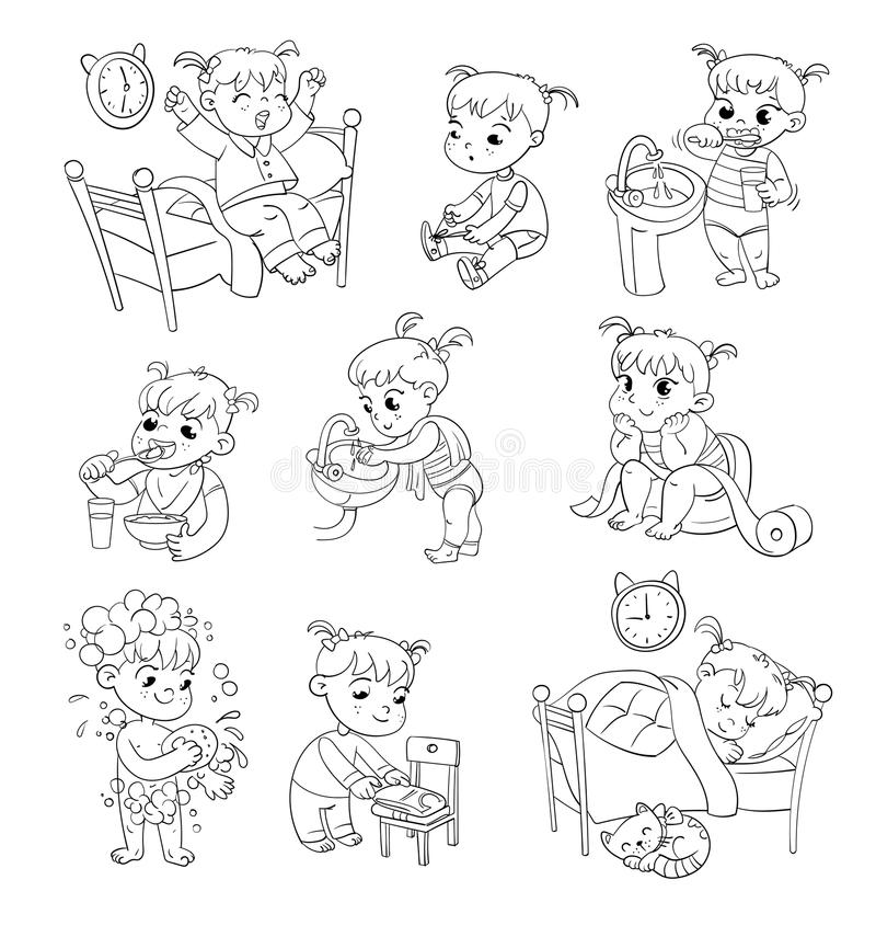 Cartoon kid daily routine activities set. Daily routine activities. Baby sitting children`s pot. Girl brushing her teeth. Hand washing. Girl washes her hands royalty free illustration