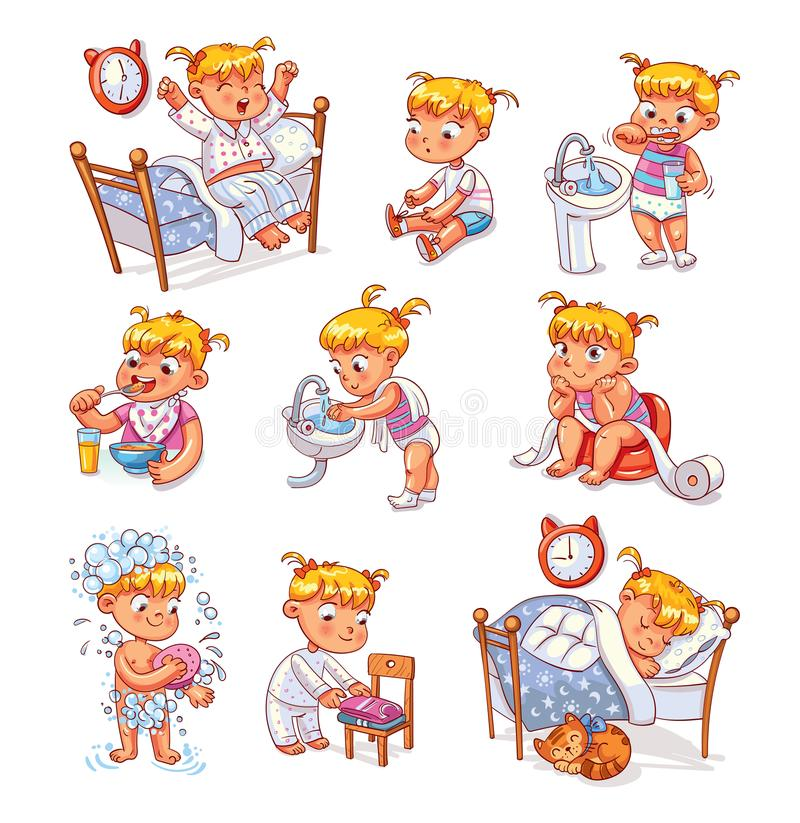 Cartoon kid daily routine activities set. Daily routine activities. Baby sitting children`s pot. Girl brushing her teeth. Kid neatly folds his clothes. Girl stock illustration