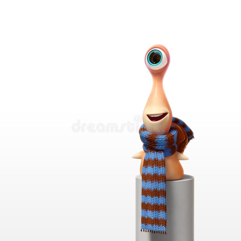 Cartoon kid snail smiling and looking far away. 3d rendering cartoon character kid snail in scarf and with smile and surprised looking forward. Awaiting for stock illustration
