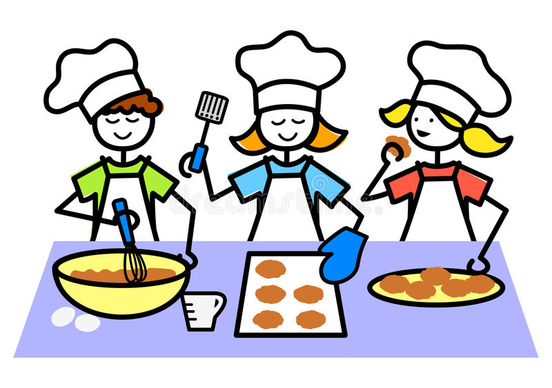 Cartoon Kids Baking Cookies/eps. Illustration of kids working together at baking cookies stock illustration