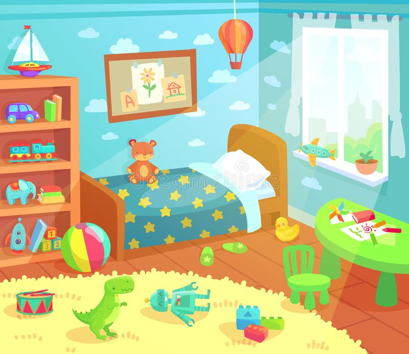 Cartoon kids bedroom interior. Home childrens room with kid bed, child toys and light from window vector illustration stock illustration