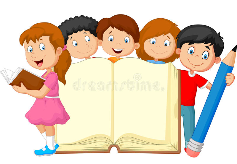 Cartoon kids with book and pencil stock illustration