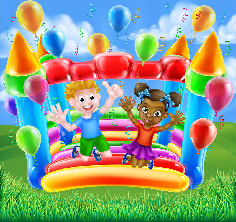 Cartoon Kids Bouncy Castle. Two children, a boy and girl, having fun jumping on a bouncy castle with balloons and streamers vector illustration
