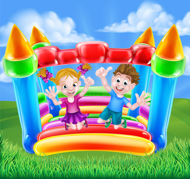 Cartoon Kids on Bouncy Castle. Cartoon young boy and girl having fun jumping on a bouncy castle stock illustration
