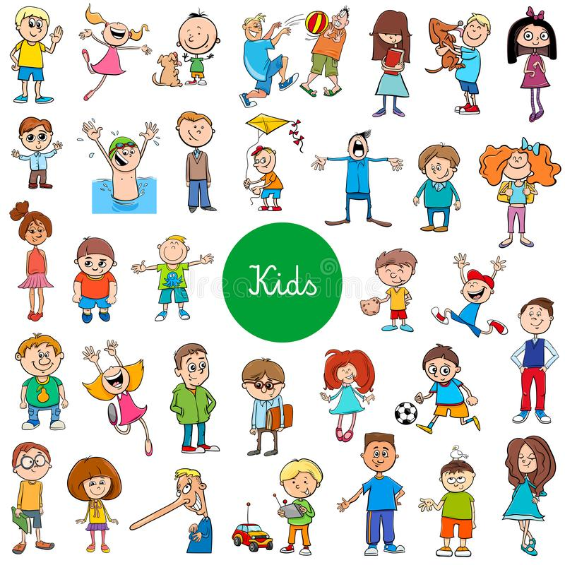 Cartoon kids characters large set. Cartoon Vector Illustration of Children and Teenagers Characters Large Set stock illustration