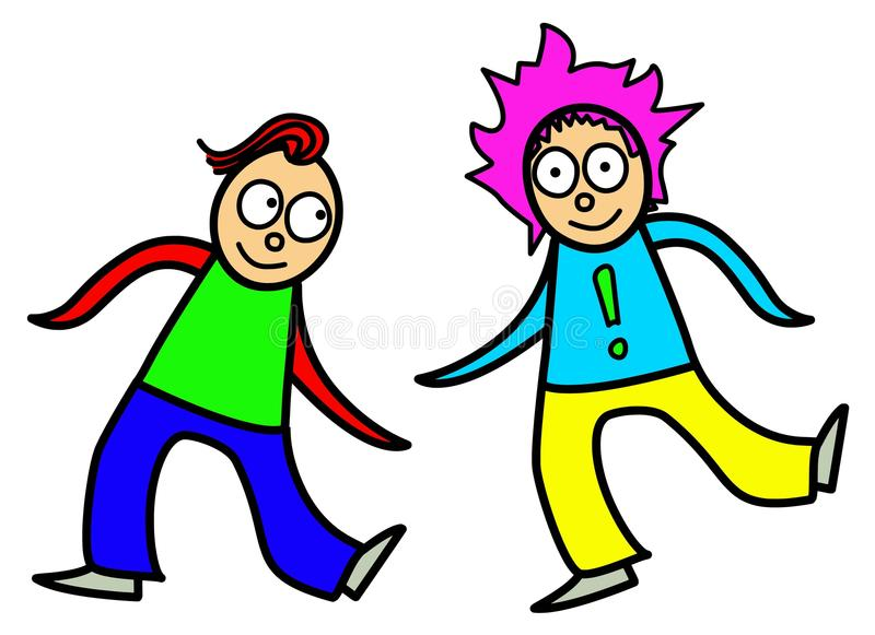 Cartoon kids dancing vector royalty free illustration