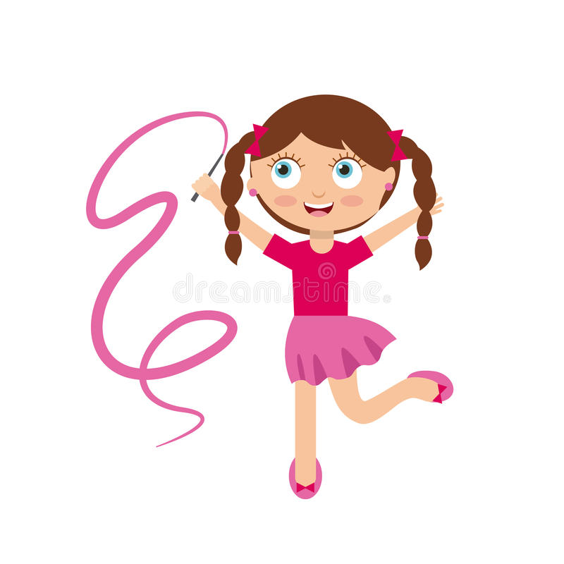 Cartoon kids design. Cute happy girl wearing pink skirt and shirt over white background. colorful design. illustration stock illustration