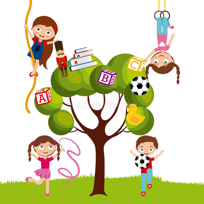 Cartoon kids design. Cute kids playing with the toys on the tree over white background. colorful design. illustration vector illustration