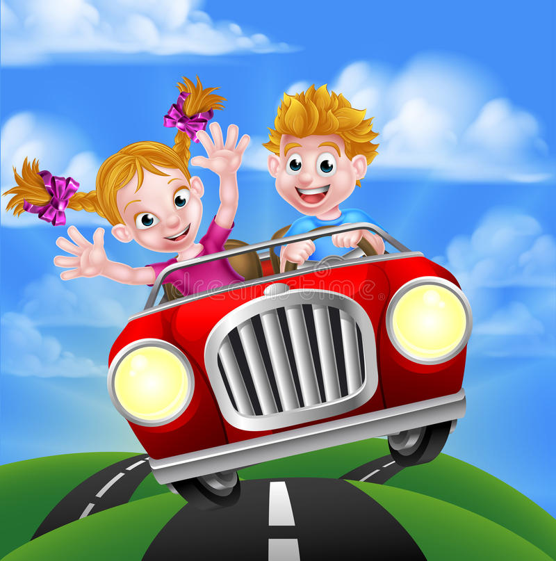 Cartoon Kids Driving Car. A cartoon man and woman having fun driving in a car on a road trip stock illustration