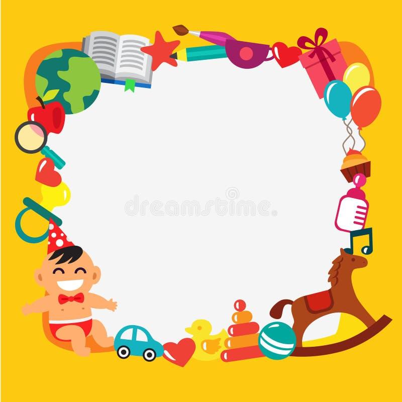 Cartoon kids frame stock illustration