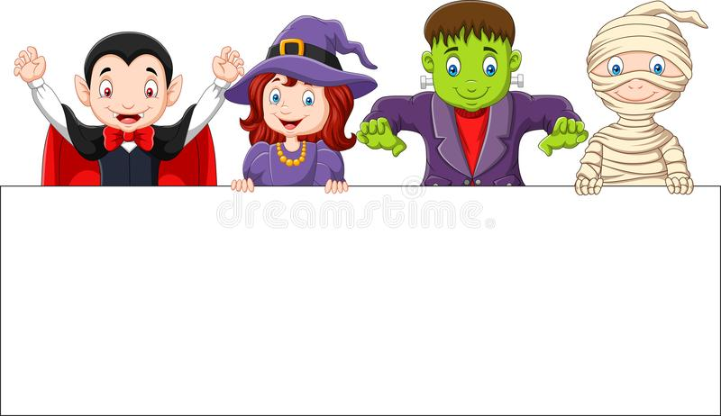 Cartoon kids with Halloween costume with blank sign royalty free illustration