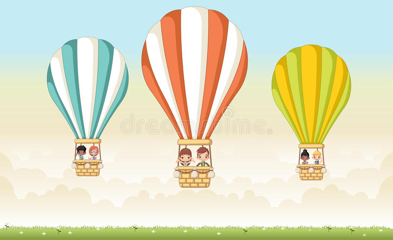 Cartoon kids inside a hot air balloon royalty free illustration