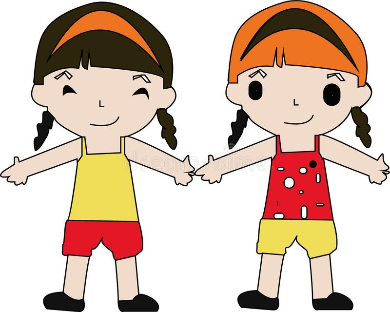 Cartoon kids jumping. Vector clip art illustration with simple gradients. Each on a separate layer. - Images vectorielles.  stock illustration