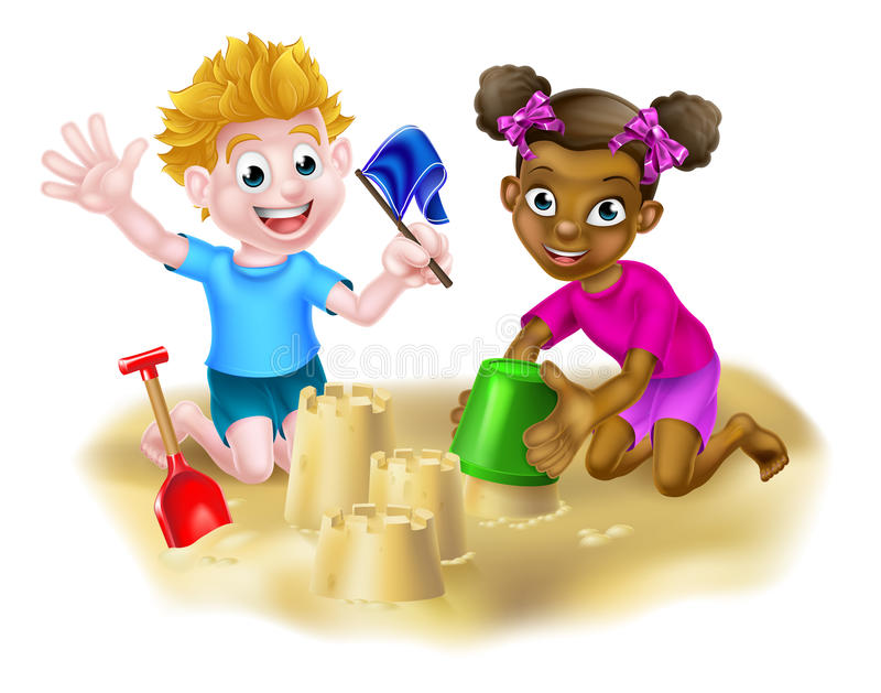 Cartoon Kids Making Sandcastles. Cartoon black girl and white boy friends playing in the sand with a bucket and spade stock illustration