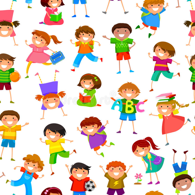 Cartoon Kids Pattern Stock Image