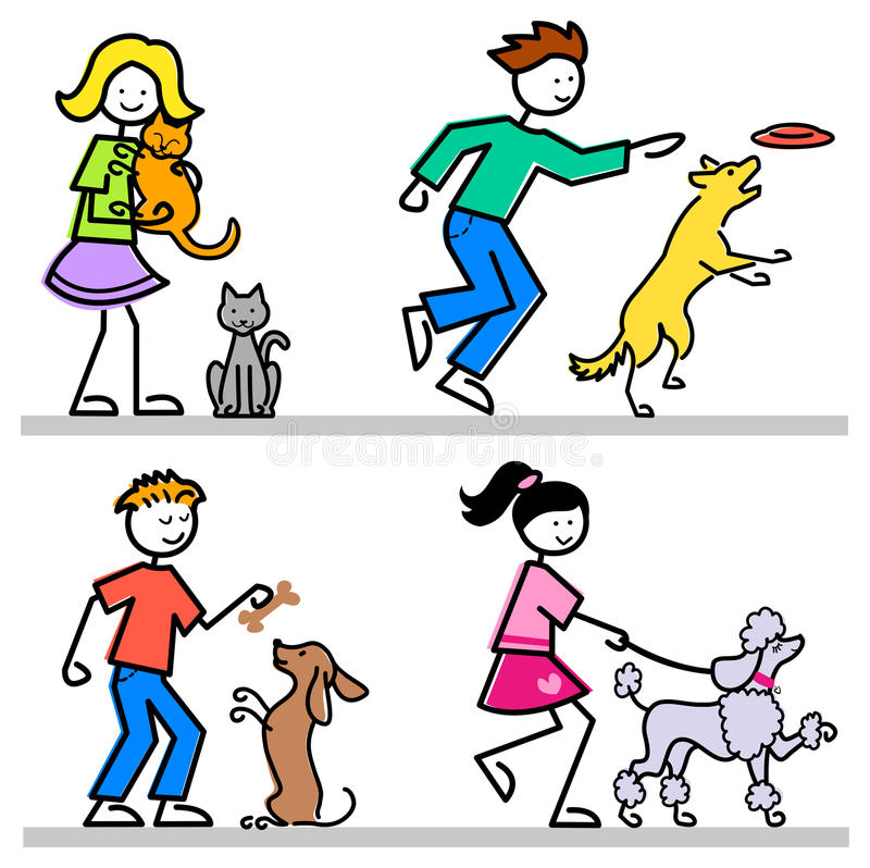 Cartoon Kids with Pets/eps. Cartoon illustrations of active children with their pet cats and dogs