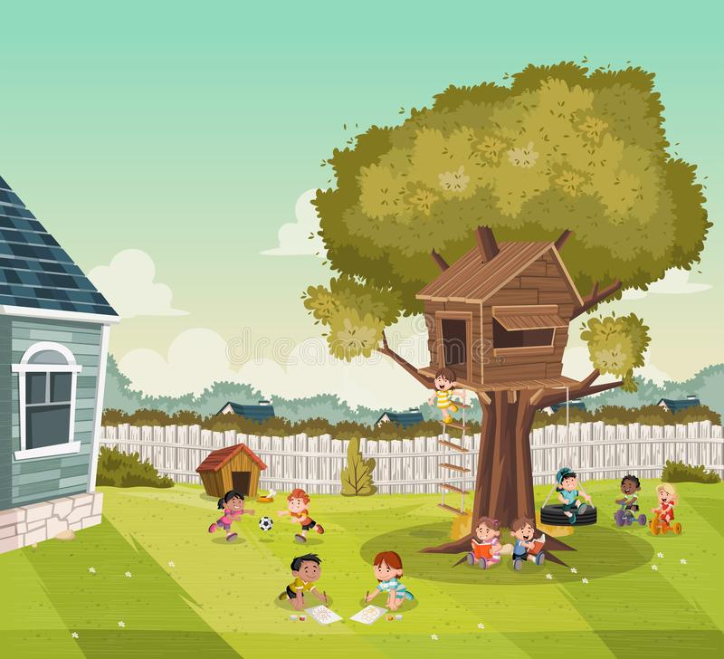 Cartoon kids playing on the backyard of a colorful house in suburb neighborhood. Sports and recreation. N vector illustration