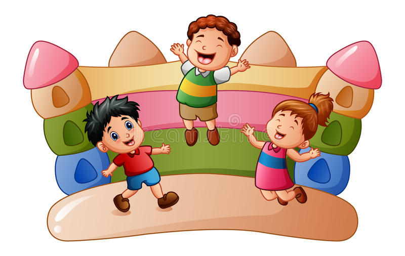 Cartoon kids playing at the bouncing house vector illustration