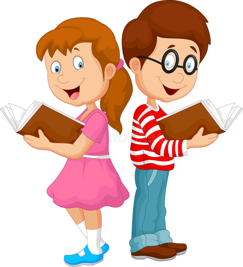 Free Cartoon Kids Reading Book Stock Image - 50763271