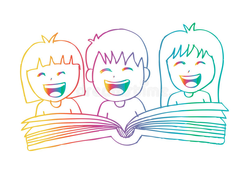 Cartoon kids reading book stock illustration