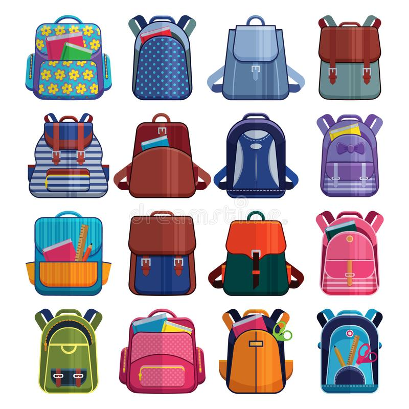 Cartoon kids school bags backpack Back to School rucksack vector set illustration on white stock illustration