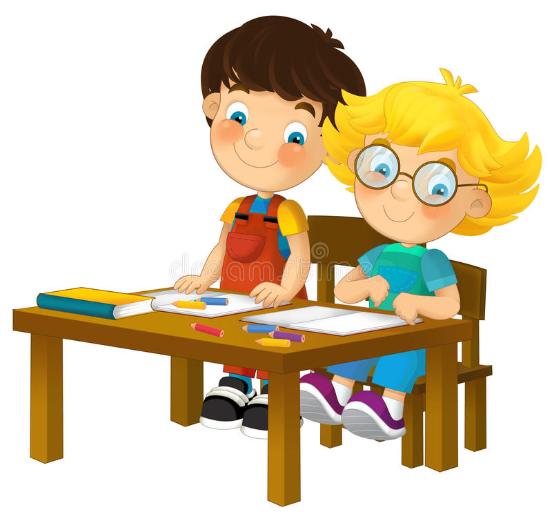 Cartoon Kids In School Desk - Isolated Stock Illustration ... Child Reading At Desk Clipart