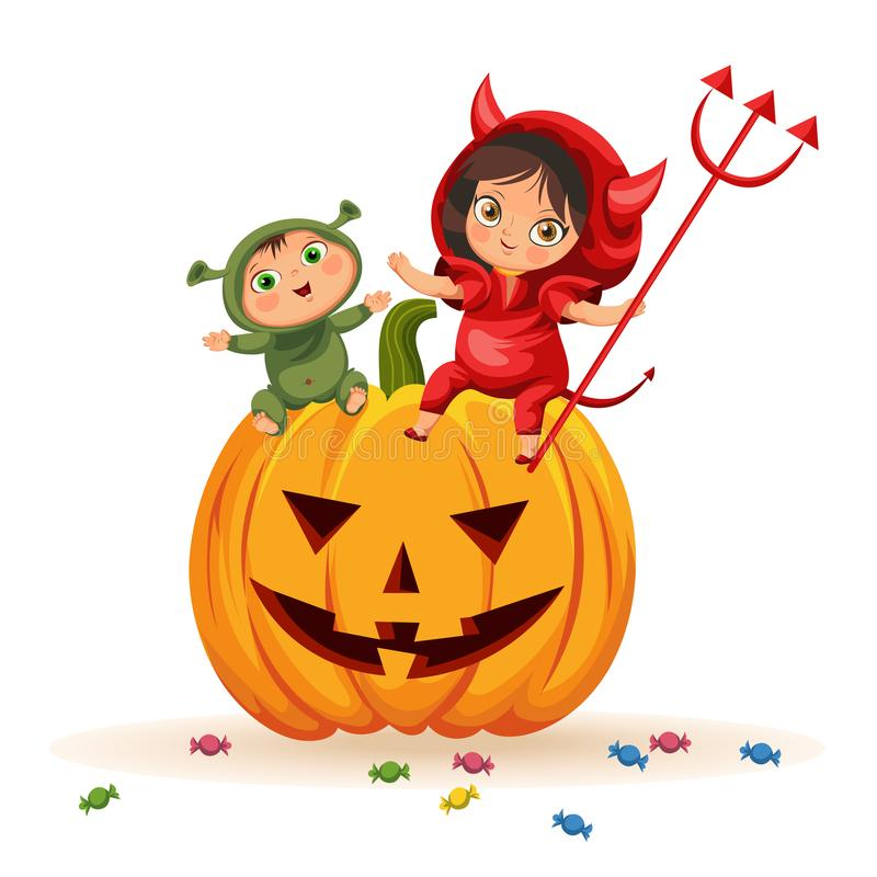 Cartoon kids sitting on Halloween pumpkin poster. Happy children in Hallows mystery costumes of shrek and devil having royalty free stock photography