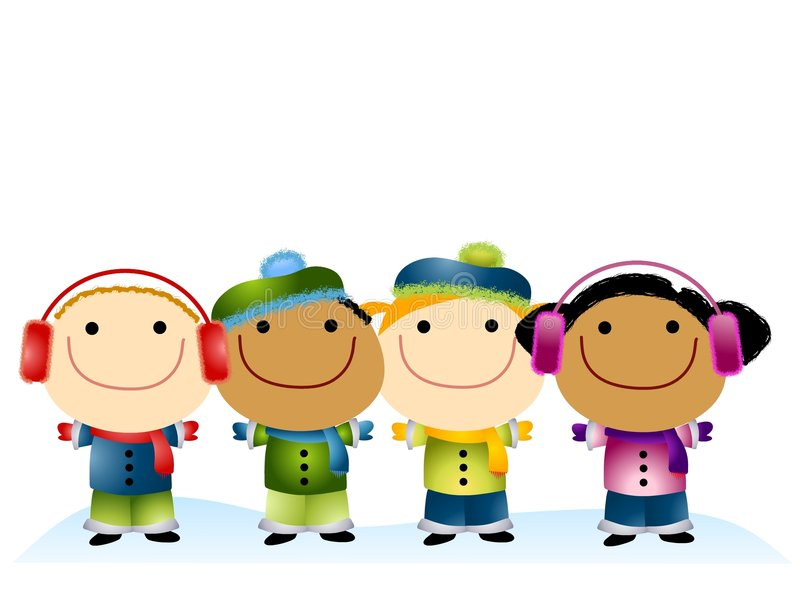 Download Cartoon Kids In The Snow Royalty Free Stock Photos - Image: 6989618