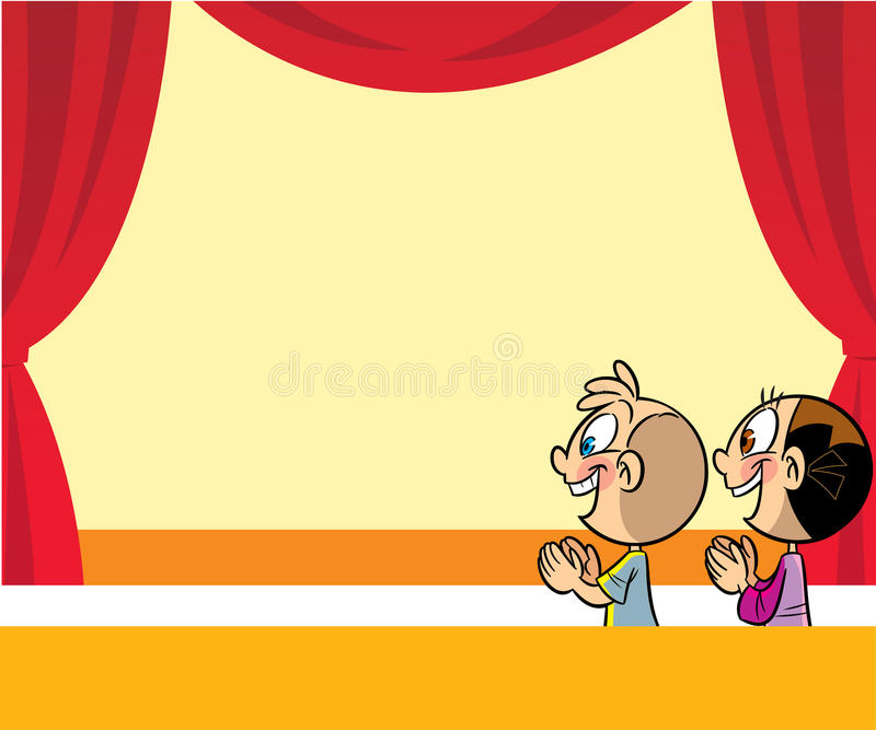 Cartoon Kids In The Theater Stock Vector Illustration Of