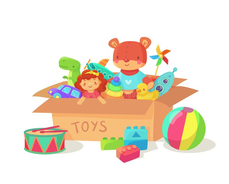 Cartoon kids toys in cardboard toy box. Children holiday gift boxes with child playthings. Plaything vector illustration vector illustration
