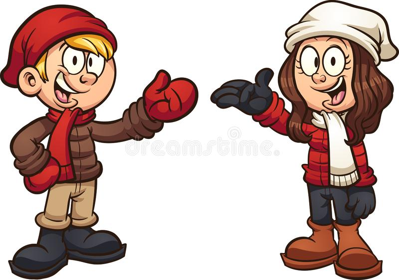 Cartoon kids wearing winter clothes royalty free illustration